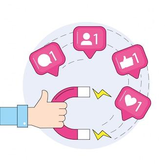 Рука с магнитом и сообщение в социальных сетях