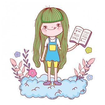 雲の中の本を読んでの幸せな女の子