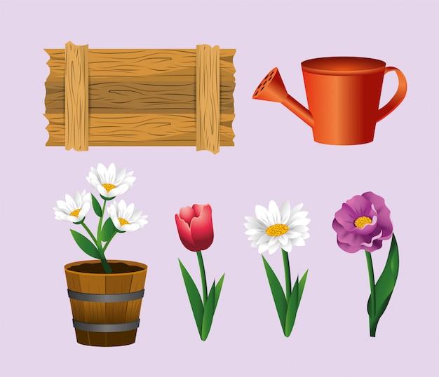 バラと花の植物と木箱を設定します。