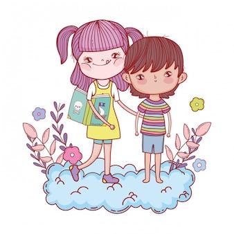 幸せな小さな子供たちは雲の中で本を読んで