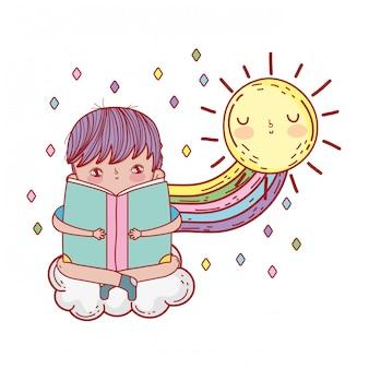 虹と本を読んで幸せな少年
