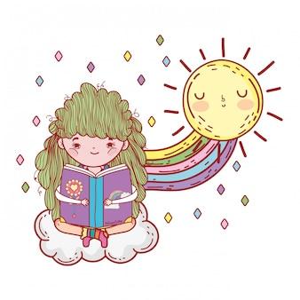 虹と太陽のかわいい本を読んでいる女の子