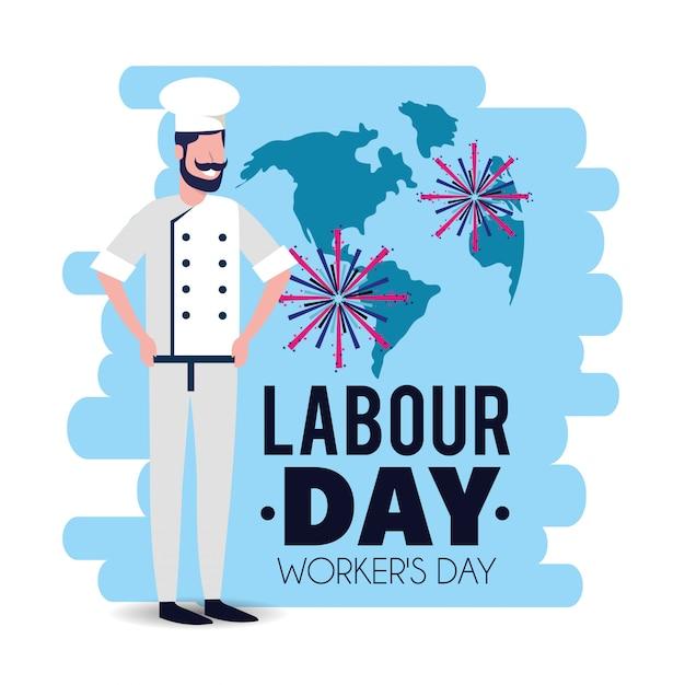 労働日を祝うために制服を着たパン