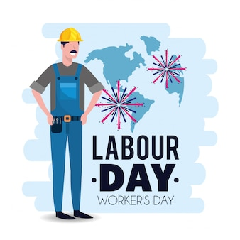 労働者の日にヘルメットと男のメカニック