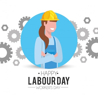 Профессиональная женщина-механик с шестернями на день труда