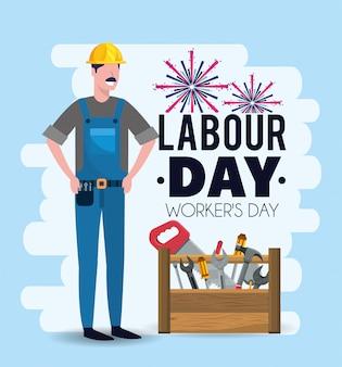 労働者の日に機器を持つ男メカニック