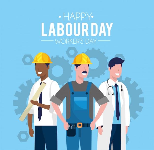 労働者の日を祝うために労働者の人々
