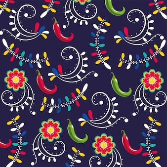 Перец чили с цветами фона украшения