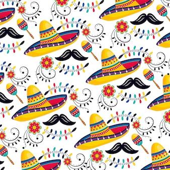 マラカスと口ひげの背景を持つメキシコの帽子