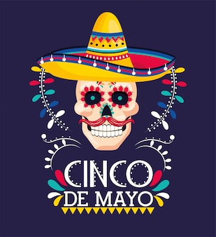 メキシコのイベントに帽子と頭蓋骨の装飾