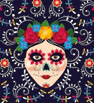 メキシコのイベントに花を持つ女性の頭蓋骨の装飾