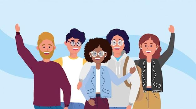 Университетские женщины и мужчины с модной одеждой