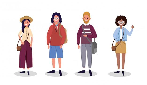 Набор женщин и мужчин с модной повседневной одежды