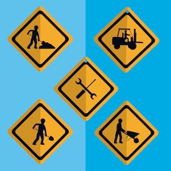 Набор строительных дорожных иконок