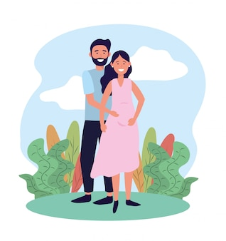 Мужчина и женщина беременна растениями