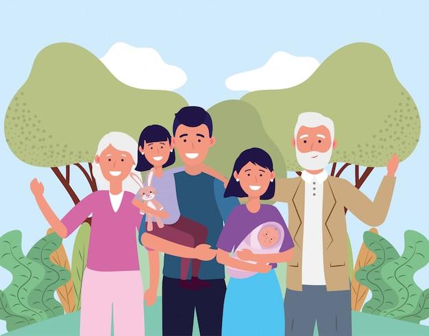 Мужчина и женщина с ребенком, дочерью и родителями
