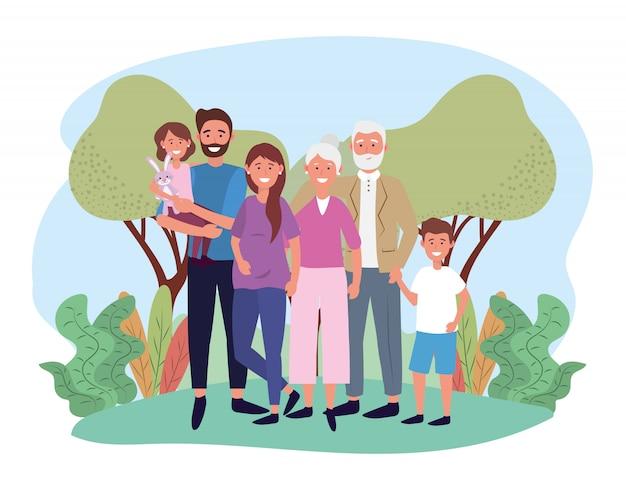 Милая женщина и мужчина со своими детьми и родителями