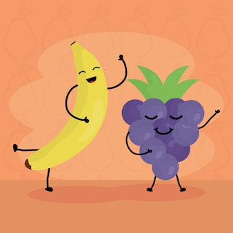 Свежие фрукты каваи персонажи
