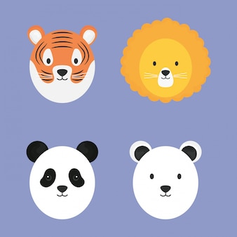 かわいい動物のキャラクターのグループ