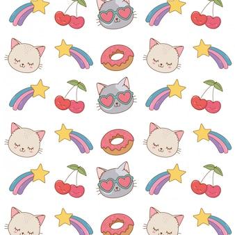 Кошка, стреляющая звездами вишневый фон