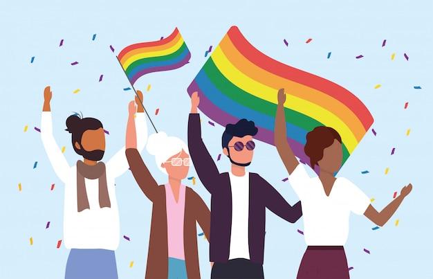 パレードする虹色の旗を持つ女性と男性のコミュニティ