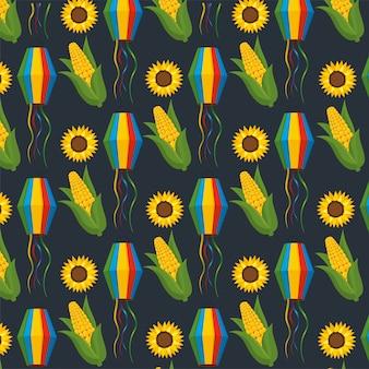 トウモロコシの穂軸とヒマワリの装飾背景を持つ提灯