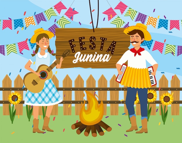 女と男のギターと祭りにアコーディオン