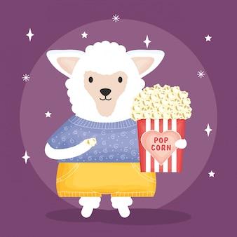 ポップコーンのキャラクターとかわいい羊