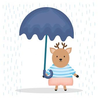 傘のキャラクターとかわいいトナカイ