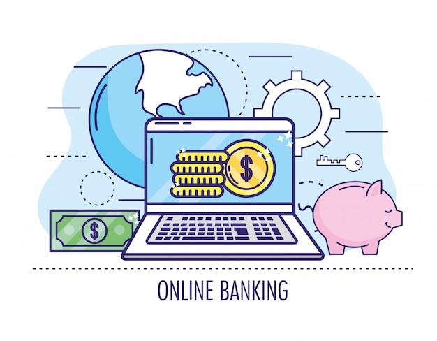 コインとオンラインバンキングへの請求書を持つノートパソコン