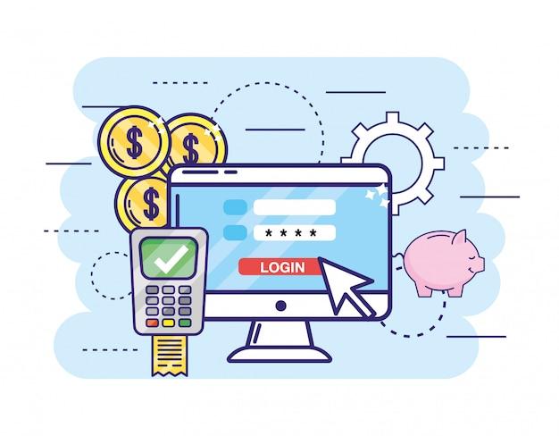 パスワード付きコンピューターとクレジットカード付きデータフォン