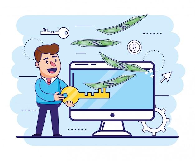 Человек с ключом и компьютером для онлайн-банкинга