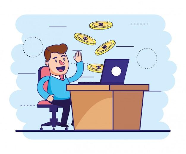 Человек сидения с ноутбуком в стол и монеты