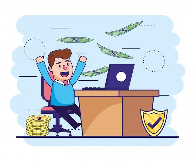 Человек с ноутбуком в столе и счета с монетами
