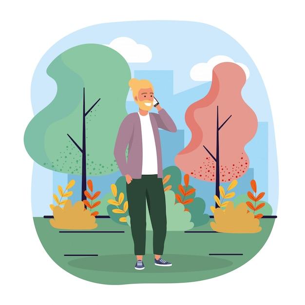 スマートフォン通信技術と木を持つ男