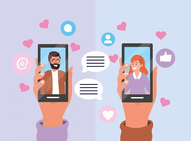 スマートフォン技術とカップルチャット泡