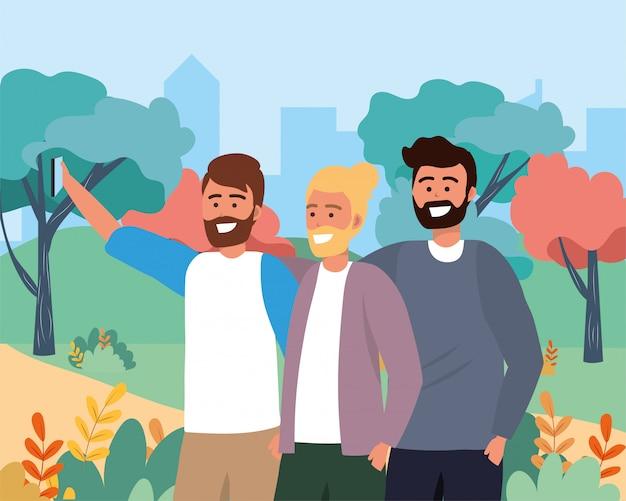 スマートフォン技術と面白い男性の友達