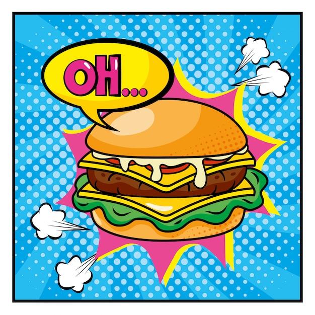 ああポップアートメッセージスタイルのハンバーガー