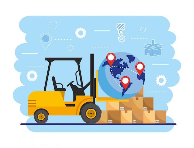 Вилочный погрузчик с местоположением глобальной карты и коробками