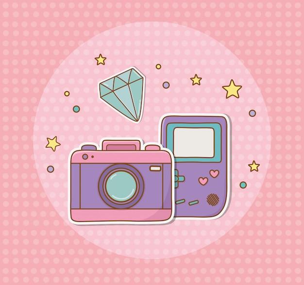 カメラの写真とビデオゲームのステッカー