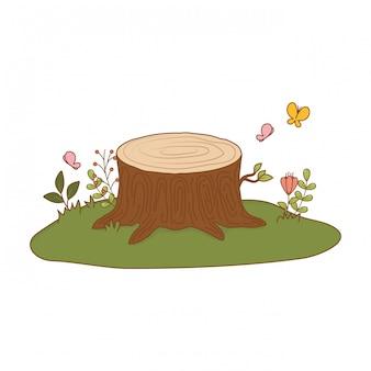 木の幹がフィールドでカット