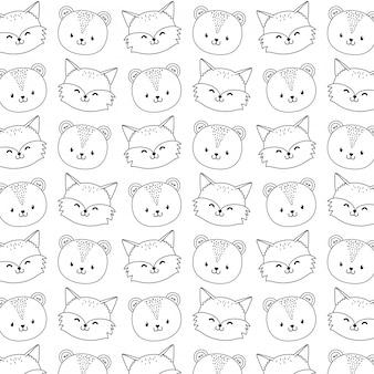 かわいい森林動物の文字のシームレスなパターンの壁紙