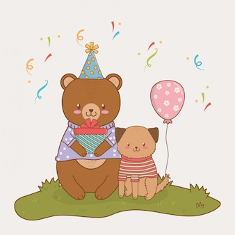 かわいい動物の森と誕生日カード