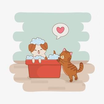 かわいい犬と子猫のマスコット