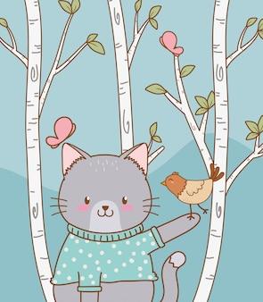 鳥の森のキャラクターとかわいい猫