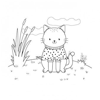 フィールドの森の文字でかわいい猫