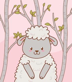 かわいい羊の森の文字