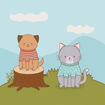 かわいい猫と犬のフィールドの森の文字