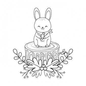 トランクの森の文字でかわいいウサギ
