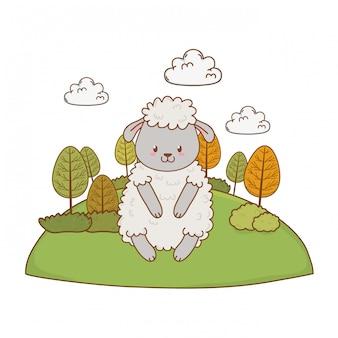 フィールドウッドランド文字でかわいい羊